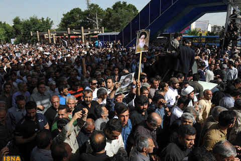 Arshideh Shahangi/ISNA A screenshot of a photograph posted on the Web site of the Iranian Students' News Agency, showing the funeral of a dissident cleric in the city of Isfahan on Tuesday.