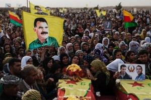 Mourners attend the funerals in Derik on October 18, 2013 of four fighters of the Committees for the Protection of the Kurdish People killed in fighting against Jabat al Nusra (AFP, Fabio Bucciarelli)