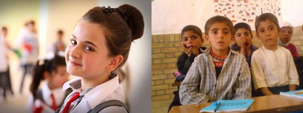 Right: Cheerful students at a Kurdistan school in Iraq.  Left: Kurdish students in Iran nervously listening to a teacher.